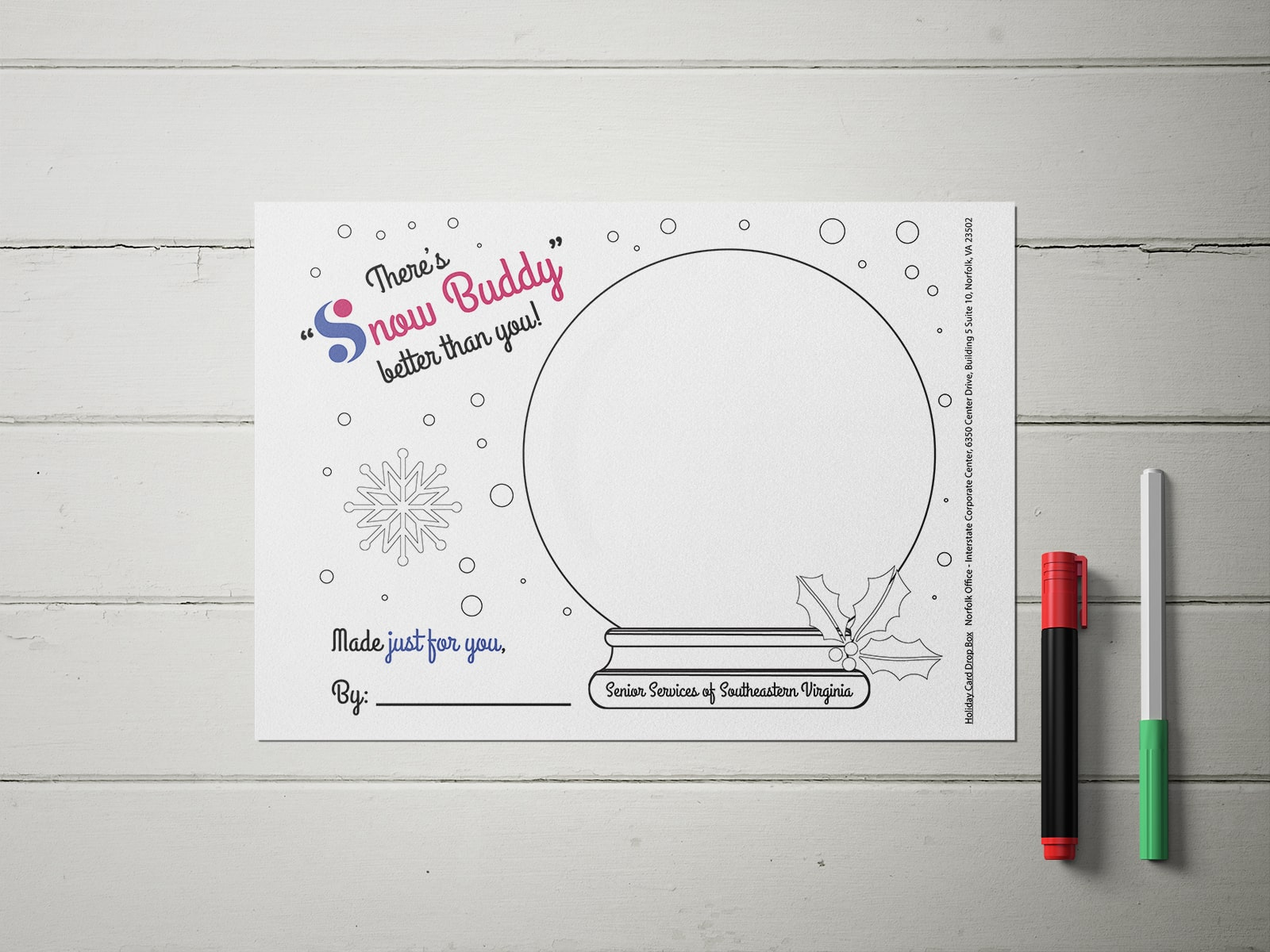 Snow globe coloring page for seniors on paper