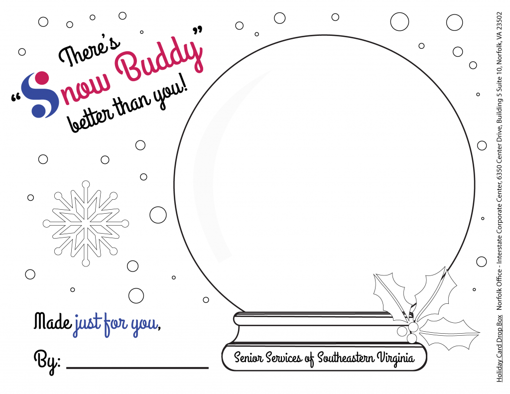Snow Buddy printable coloring page for seniors